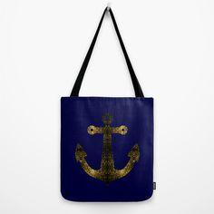 Yellow Gold sparkles Anchor on Dark navy blue Tote Bag by #PLdesign #SparklesAnchor #GoldSparkles #SparklesGift