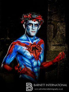 Greek God of the underworld Hades Model Rob Town. Image Barnett #Body Art #Jenny Marquis #Brushstrokes Bodyart