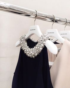 Pearl and silver beaded collar dress