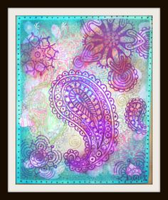 Paisley Art Print, Bohemian Art Print, Bohemian Decor, Boho Decor, Giclee Print, Fine Art Print, Boho Art, Purple and Green Art, Boho Chic