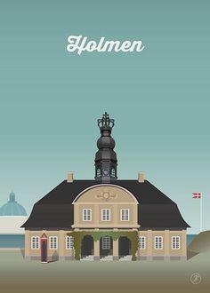 Holmen #2 - str. A3 plakat fra Jeanet kristensen Poster Colour, Color Posters, Copenhagen Design, Beautiful Women Quotes, My Heritage, Vintage Travel Posters, Uganda, Skyscraper, Country