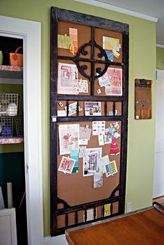 recycled screen door...into a fabulous bulletin board!