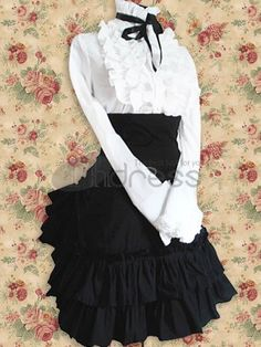 Lolita Dresses / Cotton White Lolita Blouse And Black Lolita Skirt Outfit / http://www.thdress.com/Cotton-White-Lolita-Blouse-And-Black-Lolita-Skirt-Outfit-p1254.html
