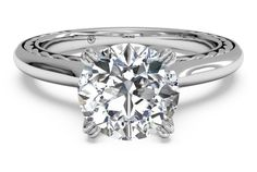 Solitaire Diamond Braided Engagement Ring - in 18kt White Gold