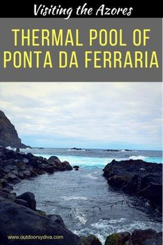 Bathing in the oceanic volcanic thermal pool of Ponta da Ferraria, on the island of Sao Miguel, Azores.