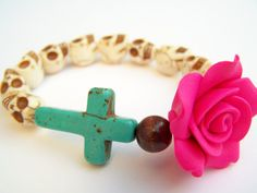 Day of the Dead Bracelet, Stretch Bracelet, Neon Pink Rose with Turquoise Cross & Skull Beads, Dia de Los Muertos Mexican Folk Art Jewelry $...