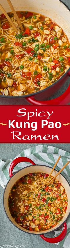 Spicy Kung Pao Ramen - so easy to make and so delicious! Just like the Kung Pao Chinese chicken but in ramen form!