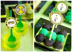 jello with spoons and cake pops with colored sprinkles