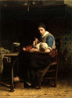 The Cottage Madonna by Dutch Jewish artist, Jozef Israels (1824-1911)