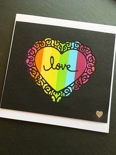 Heart die, rainbow stripe card