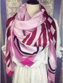 Louis Vuitton Silk Wool Shawl Pink 2015