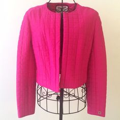 "VTG CHANEL Hot Pink Square Quilted Cropped Blazer Sz 38 FR / US 8 EUC MINT - Fabulous VINTAGE hot pink/magenta square quilted blazer/jacket from Chanel - cropped fit - fully lined - ""Chanel Paris"" detail on cuff. 50% nylon 37% spandex 13% elastane  length- 18"" sleeve length- 23"" pit to pit- 19"" shoulder to shoulder- 14"" Made in France dry clean only Thanks for looking!! CHANEL Jackets & Coats Blazers"