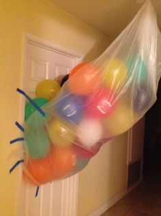 Balloon birthday surprise aka trick Saw it on Pinterest and had to try it for my daughters 12th bday.  Had a horrible time blowing up the balloons because I was laughing too hard imagining her reaction!!!
