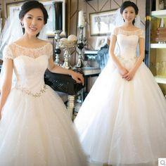 Compra en línea tu vestido de novia mangas cortas de satén y encaje con cristales con el precio más barato | Ropa-Dropship.com