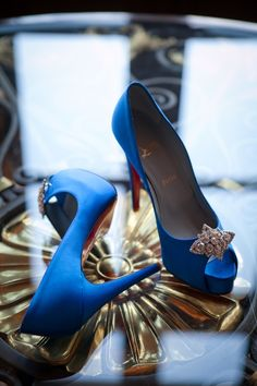 Louboutin - once again... stealing my heart with these blue peep toes!