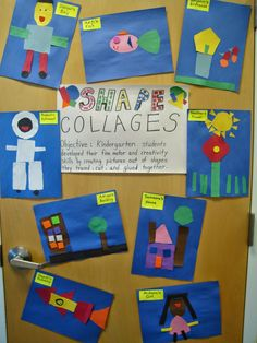 After reading book, Shapes in my World, students trace and cut out shapes to create (shape) collages. A great way for students to explore shapes. Preschool Math, Math Classroom, Kindergarten Activities, Fun Math, Classroom Ideas, Shape Collage, Shape Art, Collage Art, Collages