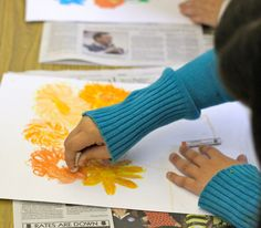 Van Gogh Flowers art lesson - beautiful use of crayons or oil pastels