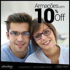 Um super desconto de 10% nas armações para começar bem a semana!  Acesse www.aoculista.com e compre pelo site em até 10x sem juros e frete grátis  #aoculista #glasses #sunglasses