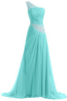 Sunvary New Chiffon and Applique Long Bridesmaid Dresses Evening Prom Gowns with Ruffles US Size 12- Light Blue