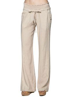 Casual Elastic & Drawstring Waist Pocket Linen Wide Leg Career Pants