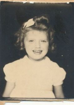 ** Vintage Photo Booth Picture **  Adorable girl with a big bright  smile and a head of curls.
