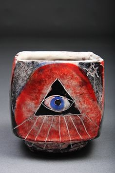 Adam Posnak Pottery and Orisha Pots - square cup w/skull and eye 2