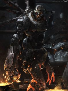 Artist: Iwo Widulinski aka nubb - Title: Demon Droid reg - Card: X-7 Dead Walker