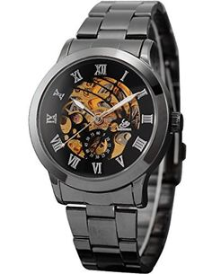 AMPM24 New Mechanical Analog Display Stainless Skeleton Mens Wrist Watch Dark Siliver PMW019 by AMPM24 -- Awesome products selected by Anna Churchill