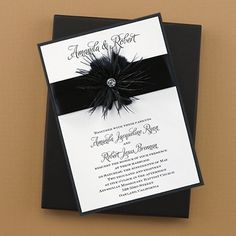 51 best black wedding invitations images on pinterest invitation fanciful feathers invitation this invitation features a white vellum top layer printed with your wording atop a black shimmer base card filmwisefo