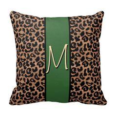 Leopard Pattern Monogrammed Throw Pillow #AnimalPrint #green