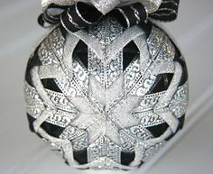 Quilted Christmas Ornament Ball/Black and Silver by YouniqueOrnaments $25.00