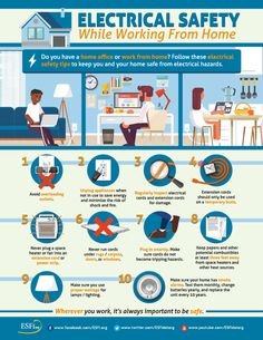ESFI: Electrical Safety While Working from Home Fire Safety Poster, Health And Safety Poster, Fire Safety Tips, Safety Posters, Safety Moment Ideas, Safety Moment Topics, Safety Topics, Workplace Safety Tips, Office Safety