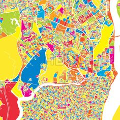 Guayaquil, Ecuador, colorful vector map.  White streets, railways and water. Various coloured shapes for landmarks and traffic. No information about n... ... #map #downloadable #background #vector #design