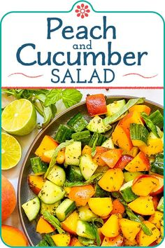 Easy Cucumber, Peach, and Basil Salad! Cool, crunchy cucumbers combined with sweet, juicy peaches and dressed in a peppery basil vinaigrette is a great way to make the most of summer and all its gorgeous flavors. This refreshing salad is easy to make and goes great with grilled meat. #simplyrecipes #peach #salad #cucumberpeachsalad #summersalad Salad Dressing Recipes, Chicken Salad Recipes, Healthy Salad Recipes, Cucumber Recipes, Salad Dressings, Summertime Salads, Summer Salads, Simply Recipes, Fast Recipes
