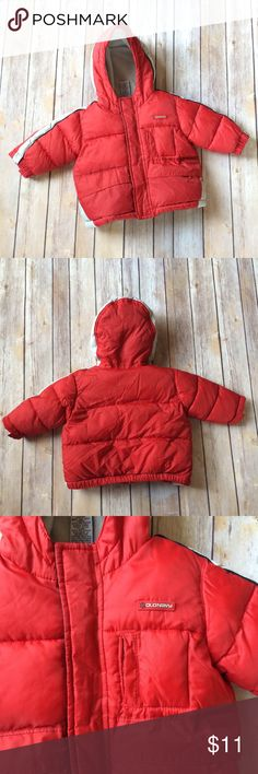 Old Navy Puffy Coat Red hooded puffy coat with a zipper and Velcro enclosures. Has 3 front pockets. 90322 Old Navy Jackets & Coats Puffers