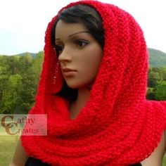 Hand #Knit Red #Cowl by @CathyCreates