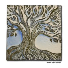 Natalie Blake Studios sgraffito carved tree of life tile in beautiful soft blue glaze.