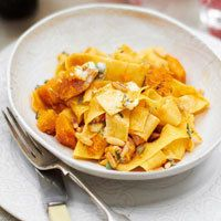 Fall is here and so is my fav pappardelle, butternut, sage and blue cheese dish.  Even better the next day.