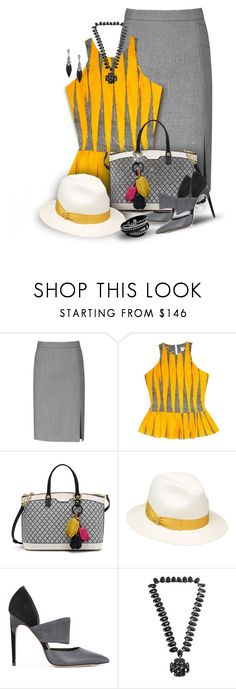 """""""Fair Trade Top in yellow and gray"""" by franceseattle ❤ liked on Polyvore featuring Reiss, FAIR+true, Henri Bendel, Borsalino and Calvin Klein"""