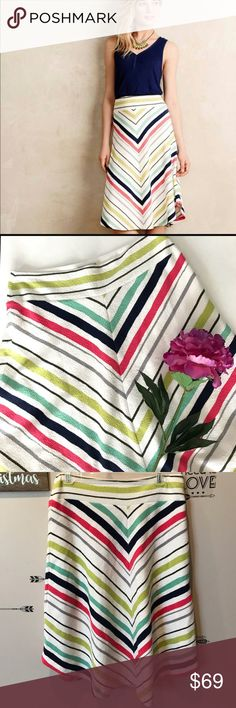 "NWT Anthro Maeve Chevron Skirt NWT. Smoke free, pet friendly home.  Bundle your likes for a discount, all offers considered 👗  Measures 16"" across and is 27"" long. And is really stretchy. Anthropologie Skirts A-Line or Full"