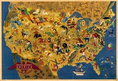 Pictorial map of American Folk Legends by William Gropper, 1946. *