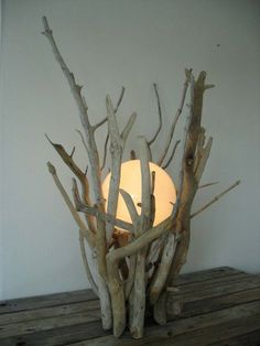 Driftwood light...LOVE!! Looks like just one of those globe bulbs with low wattage.