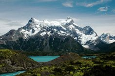mountain scenes with lake | scene in Torres del Paine -- chile mountains blue lake torres paine ...