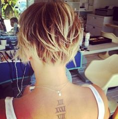 Back of Kaley Cuoco's Pixie cut--super cute!!