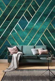 45 The Best Interior Design Using Wallpaper To Add To The Beauty Of Your Home Interior Design art deco interior design Tapetes Art Deco, Salon Art Deco, Interiores Art Deco, Art Deco Living Room, Art Deco Room, Art Deco Decor, Art Deco Wallpaper, Interior Wallpaper, Wallpaper Designs For Walls