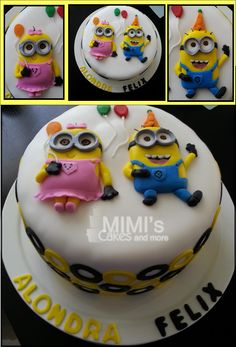 Minion Birthday Cake - Girl and Boy Minion Celebrating a Double Birthday