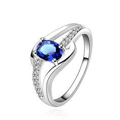 Envío gratis 925 Joyería de plata de la piedra azul todavía aquí SMTR562 de plata anillo de bodas para las mujeres