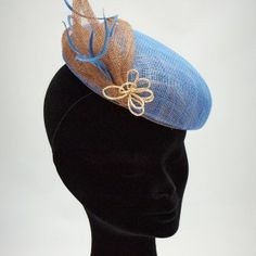 Beatrice Pill Box - Blue & Bronze Sinamay with hand made beaded flower.