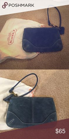 Authentic coach brand new suede blue wristlet Authentic coach brand new suede blue wristlet. Never worn. Was given to me as a gift. Beautiful gray blue suede. Comes with dust bag and care instructions inside. Can bundle! Coach Bags Clutches & Wristlets