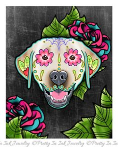 Labrador Retriever in Yellow - Day of the Dead Sugar Skull Dog Art Print by Pretty In Ink Jewelry